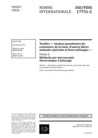 ISO 17751-2:2016 - Textiles -- Analyse quantitative du cachemire, de la laine, d'autres fibres animales spéciales et leurs mélanges