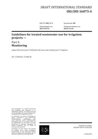 ISO 16075-4:2016 - Guidelines for treated wastewater use for irrigation projects