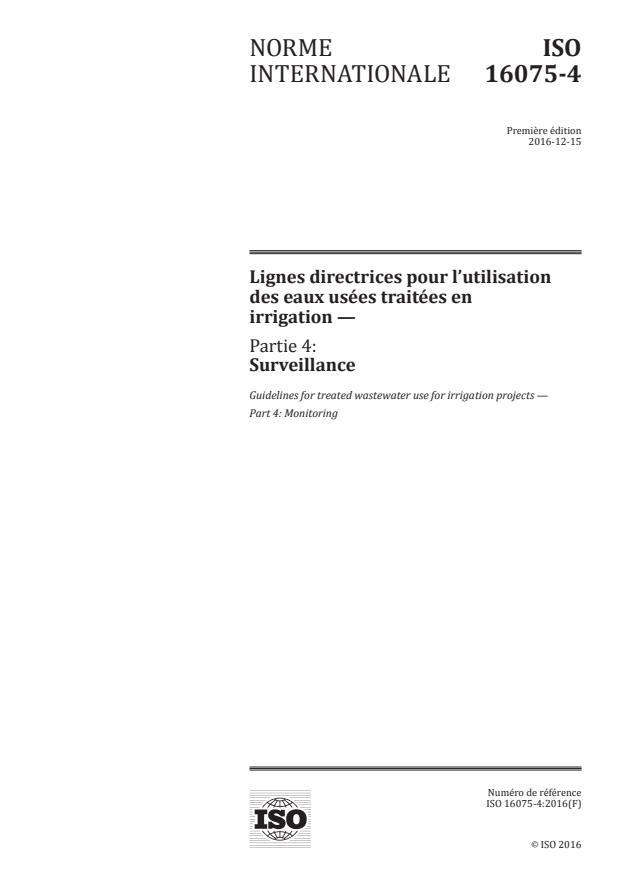 ISO 16075-4:2016 - Lignes directrices pour l'utilisation des eaux usées traitées en irrigation
