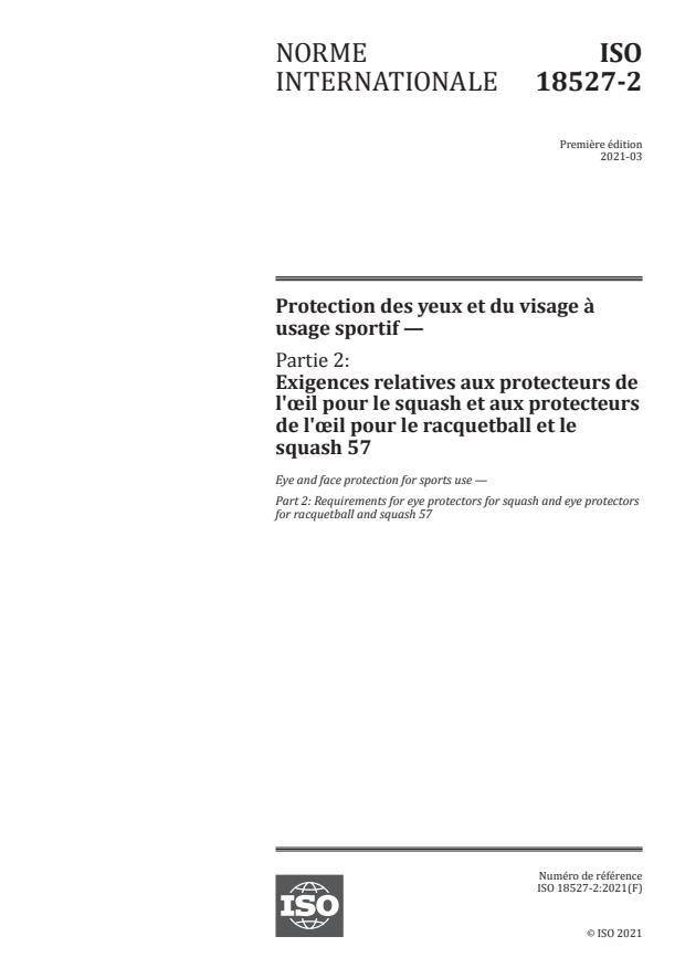 ISO 18527-2:2021 - Protection des yeux et du visage à usage sportif