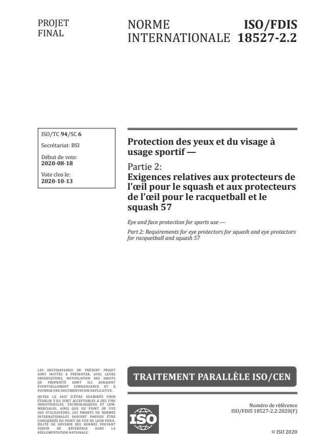 ISO/FDIS 18527-2.2:Version 13-okt-2020 - Protection des yeux et du visage a usage sportif