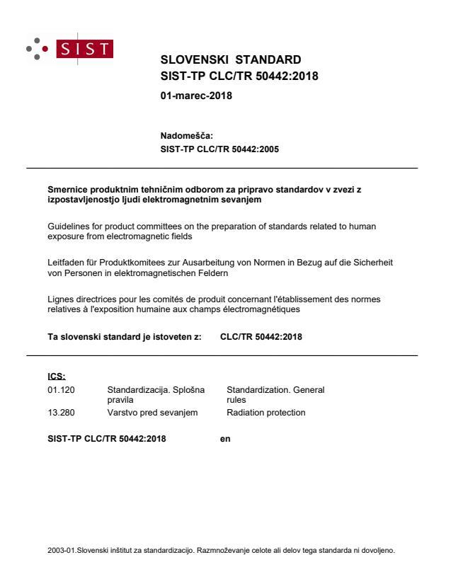 SIST-TP CLC/TR 50442:2018