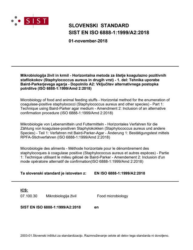 EN ISO 6888-1:1999/A2:2018