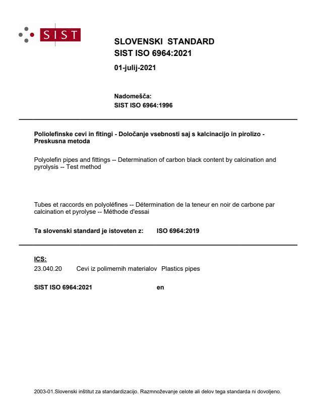 SIST ISO 6964:2021