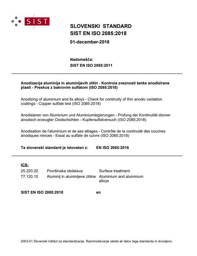 SIST EN ISO 2085:2018
