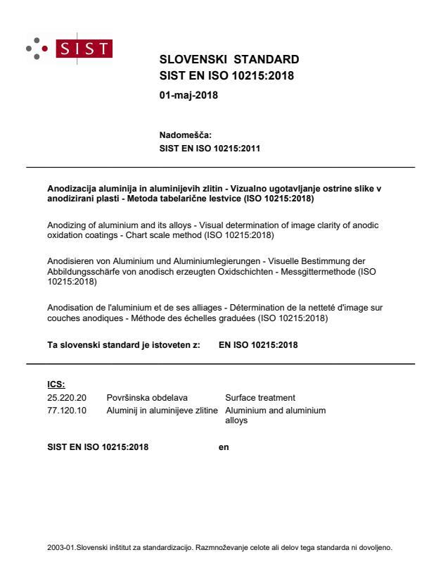 SIST EN ISO 10215:2018