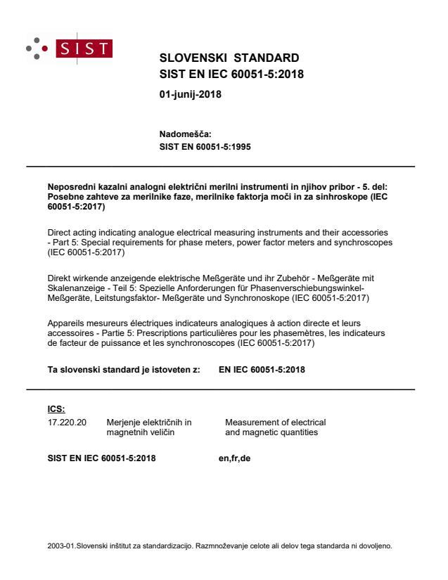 SIST EN IEC 60051-5:2018
