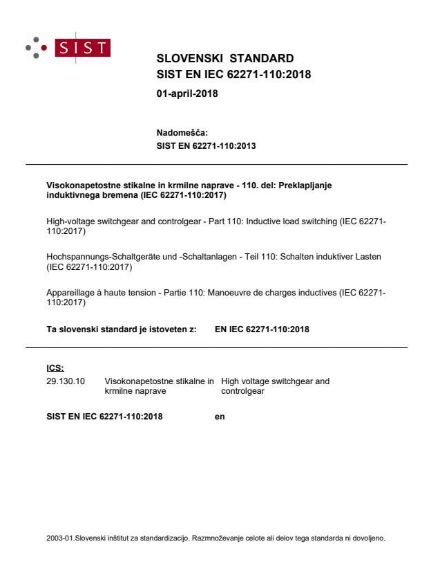 SIST EN IEC 62271-110:2018