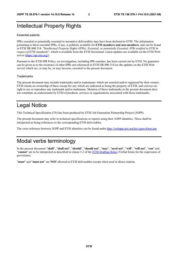 ETSI TS 136 579-1 V14.10.0 (2021-08) - LTE; Mission Critical (MC) services over LTE; Part 1: Common test environment (3GPP TS 36.579-1 version 14.10.0 Release 14)