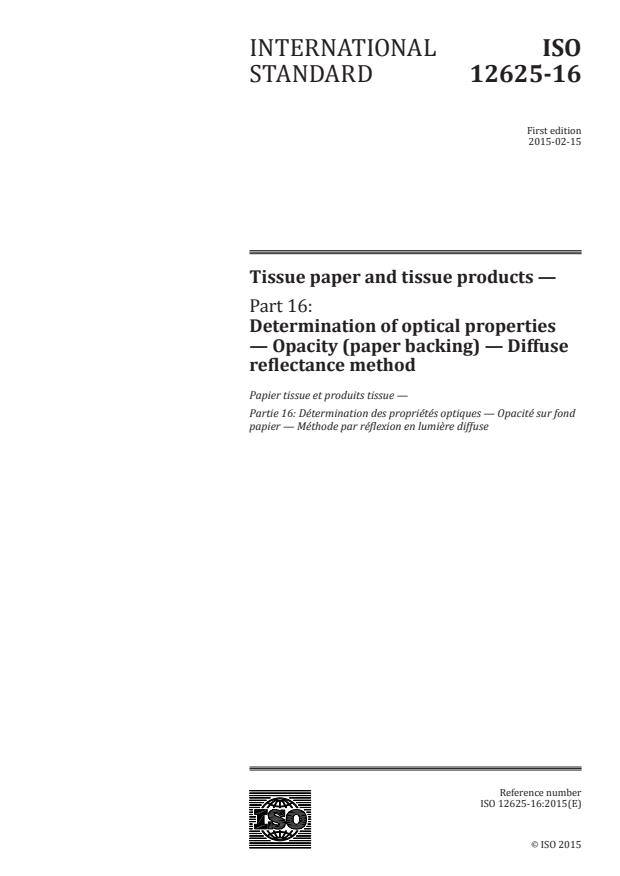 ISO 12625-16:2015 - Tissue paper and tissue products