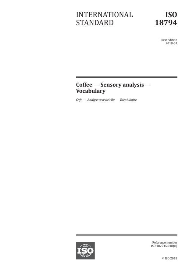 ISO 18794:2018 - Coffee -- Sensory analysis -- Vocabulary