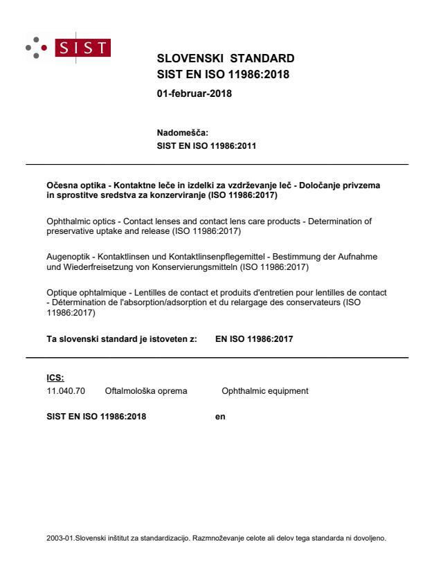 SIST EN ISO 11986:2018