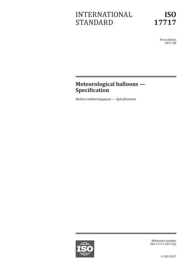 ISO 17717:2017 - Meteorological balloons -- Specification