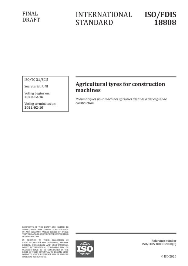 ISO/FDIS 18808:Version 12-dec-2020 - Agricultural tyres for construction machines