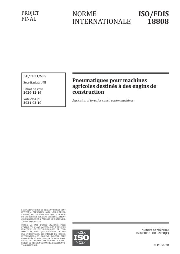 ISO/FDIS 18808:Version 22-jan-2021 - Pneumatiques pour machines agricoles destinés a des engins de construction