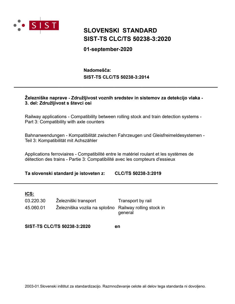 SIST-TS CLC/TS 50238-3:2020