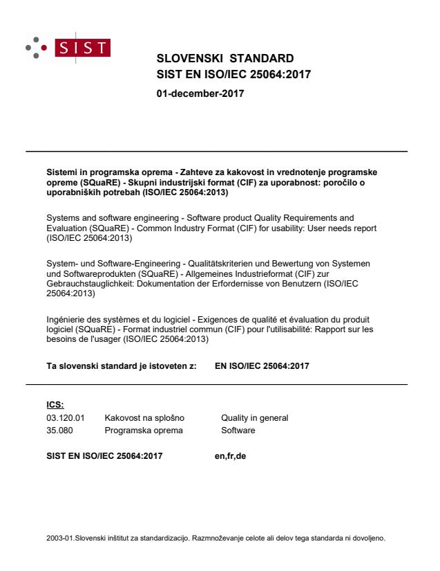 EN ISO/IEC 25064:2017