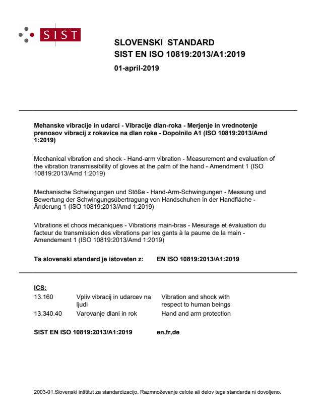 SIST EN ISO 10819:2013/A1:2019