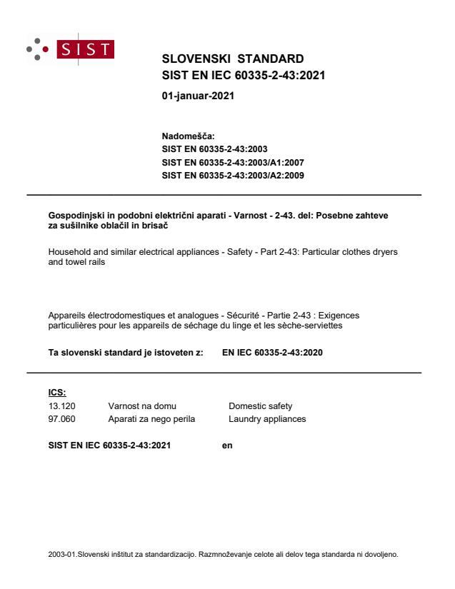 SIST EN IEC 60335-2-43:2021