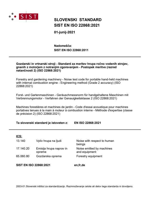 SIST EN ISO 22868:2021
