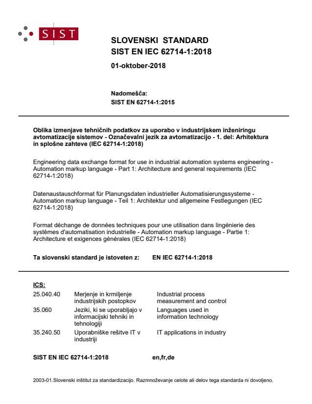 EN IEC 62714-1:2018 - BARVE