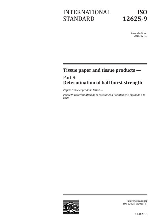 ISO 12625-9:2015 - Tissue paper and tissue products
