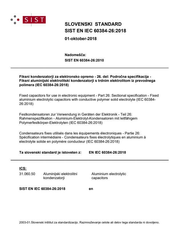 SIST EN IEC 60384-26:2018