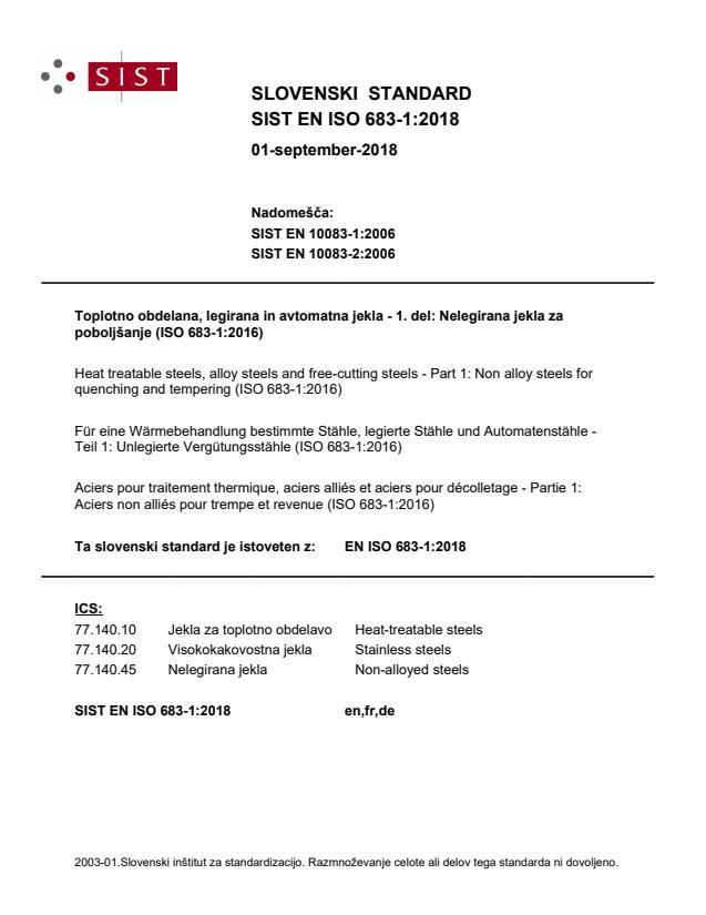 SIST EN ISO 683-1:2018