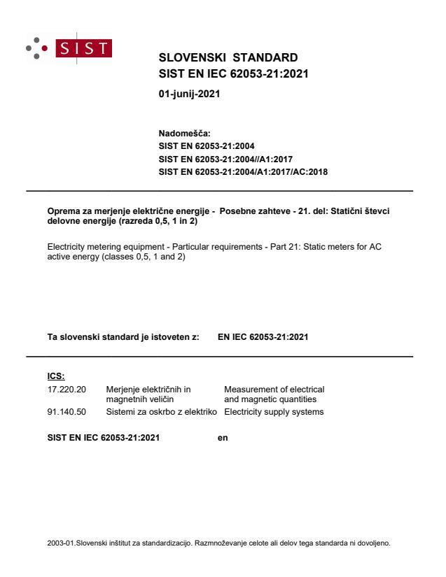 SIST EN IEC 62053-21:2021