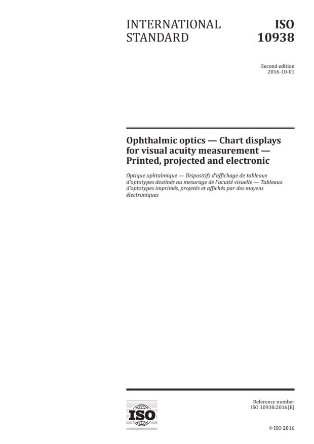 ISO 10938:2016 - Ophthalmic optics -- Chart displays for visual acuity measurement -- Printed, projected and electronic