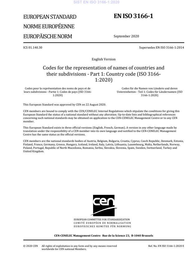 SIST EN ISO 3166-1:2020