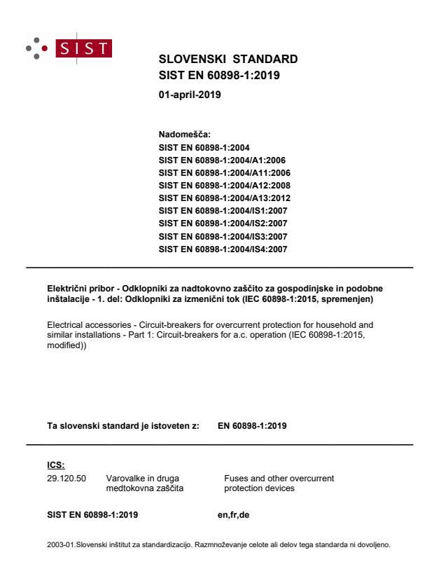 SIST EN 60898-1:2019 - SIST naslovnica brez FR in DE-naslova zaradi veliko razveljavitev (premik naslovnice na dve strani)