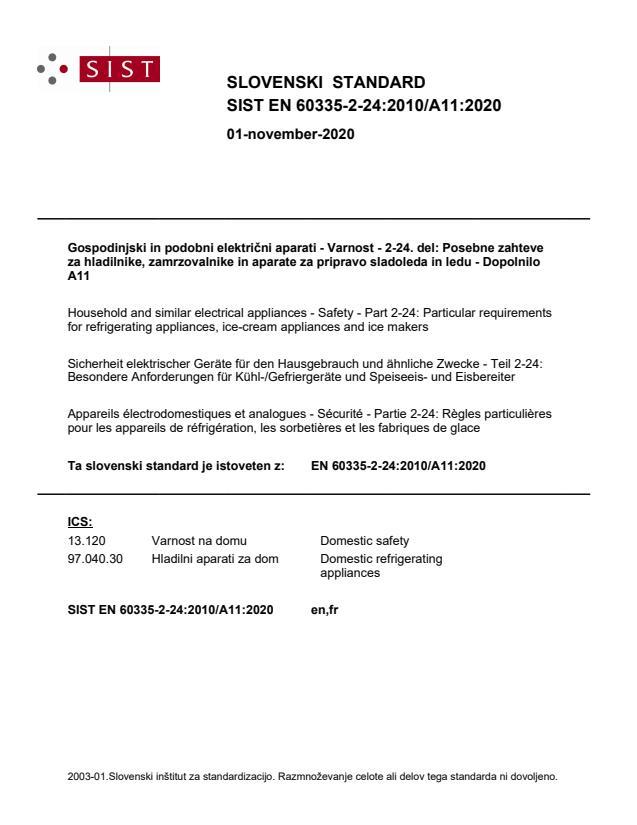 SIST EN 60335-2-24:2010/A11:2020