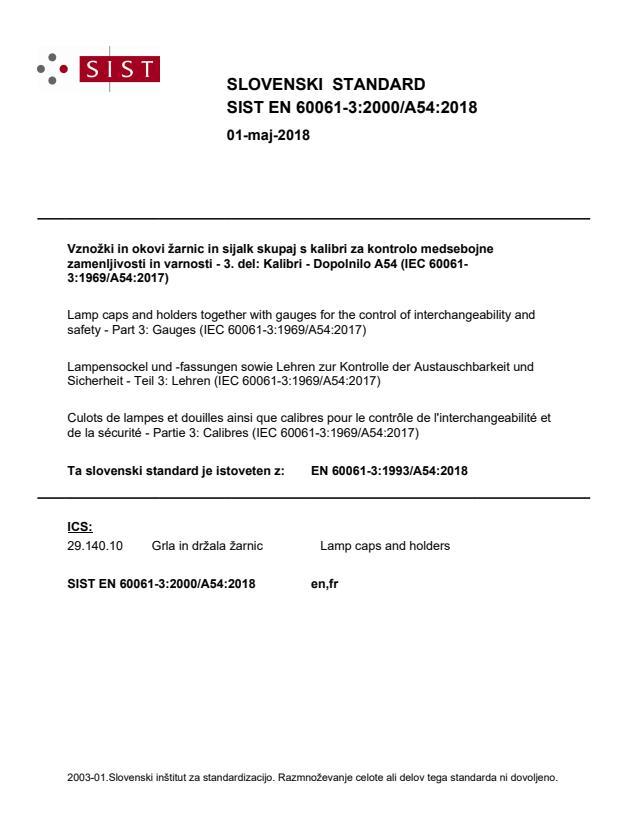 SIST EN 60061-3:2000/A54:2018