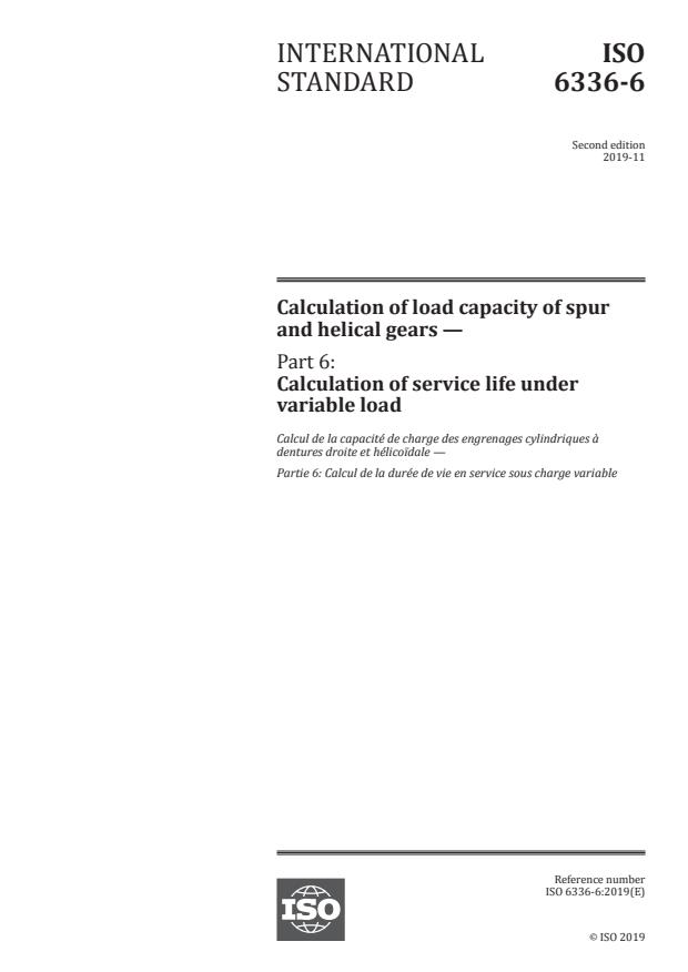 ISO 6336-6:2019 - Calculation of load capacity of spur and helical gears