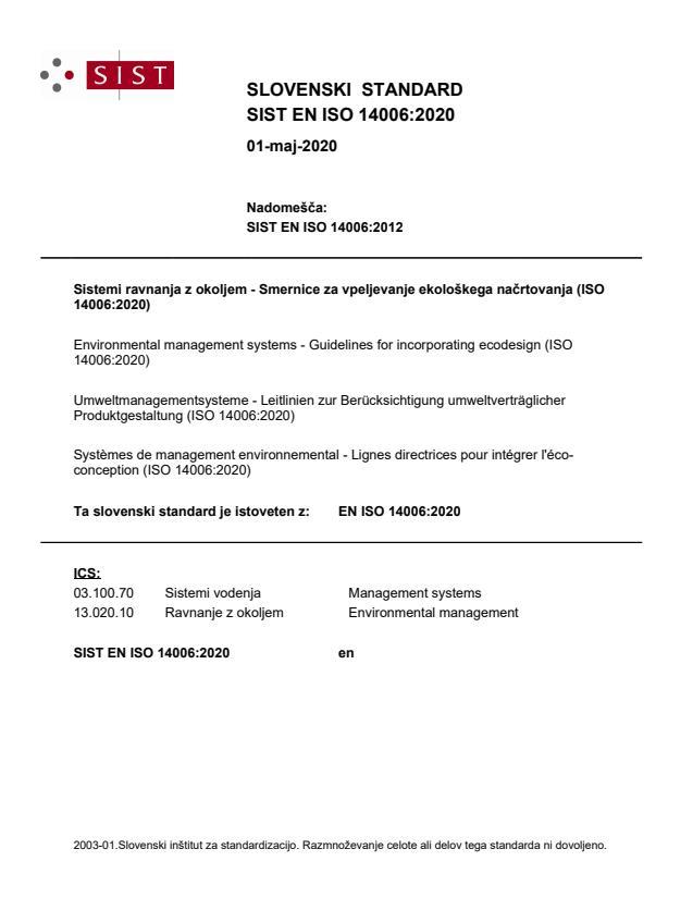 SIST EN ISO 14006:2020