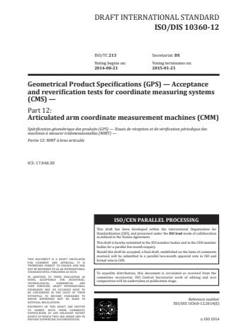 ISO 10360-12:2016 - Geometrical product specifications (GPS) -- Acceptance and reverification tests for coordinate measuring systems (CMS)