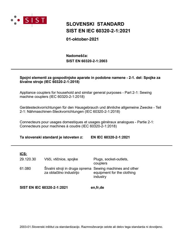 SIST EN IEC 60320-2-1:2021