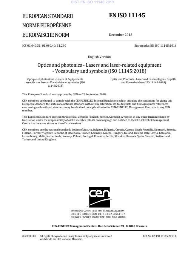 EN ISO 11145:2018
