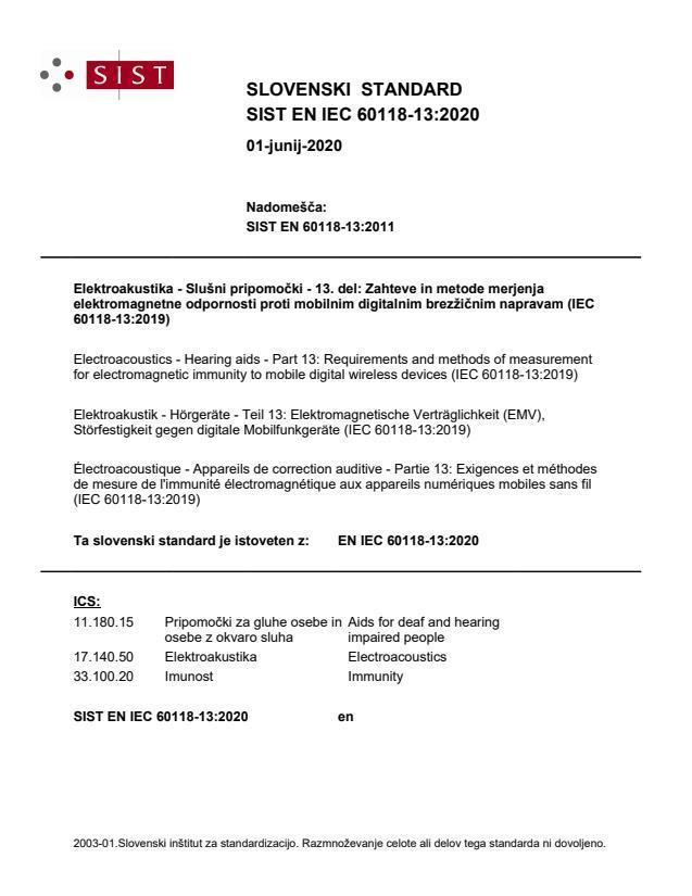 EN IEC 60118-13:2020