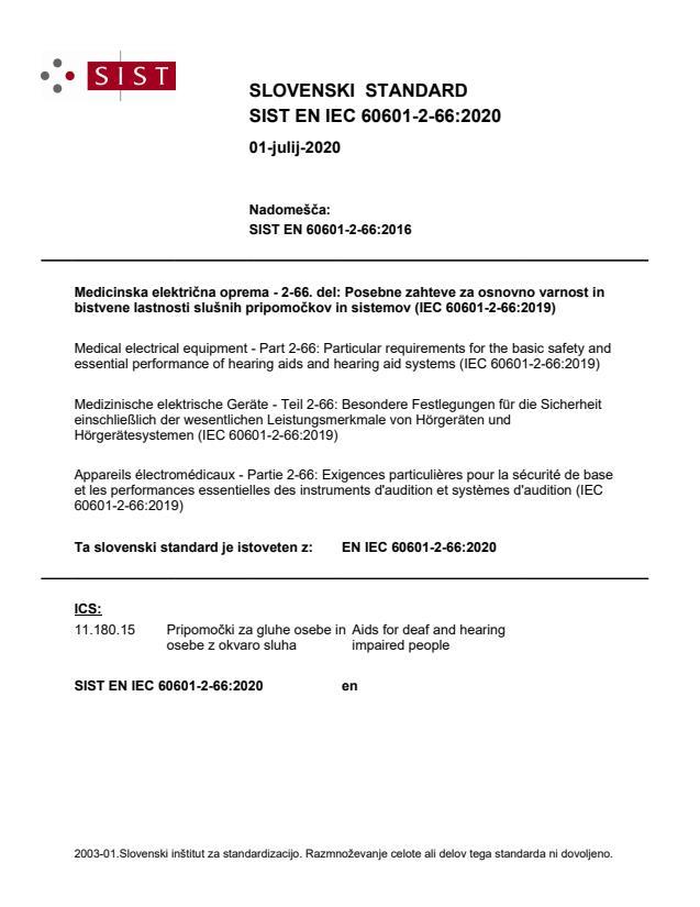 EN IEC 60601-2-66:2020