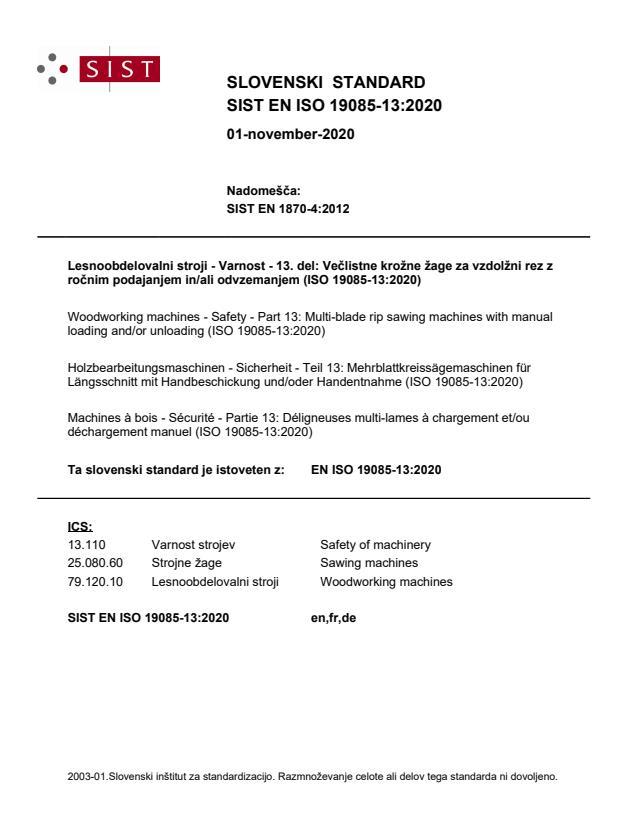 SIST EN ISO 19085-13:2020