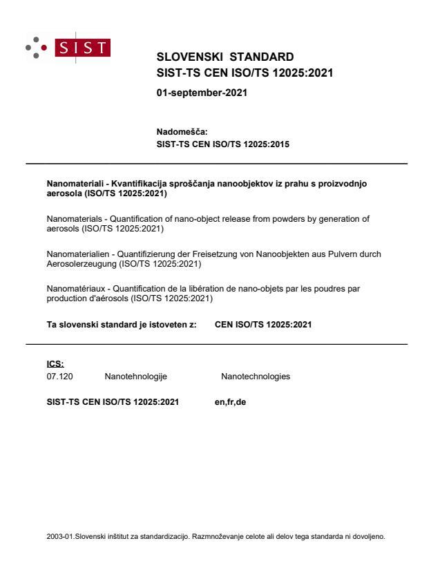 SIST-TS CEN ISO/TS 12025:2021
