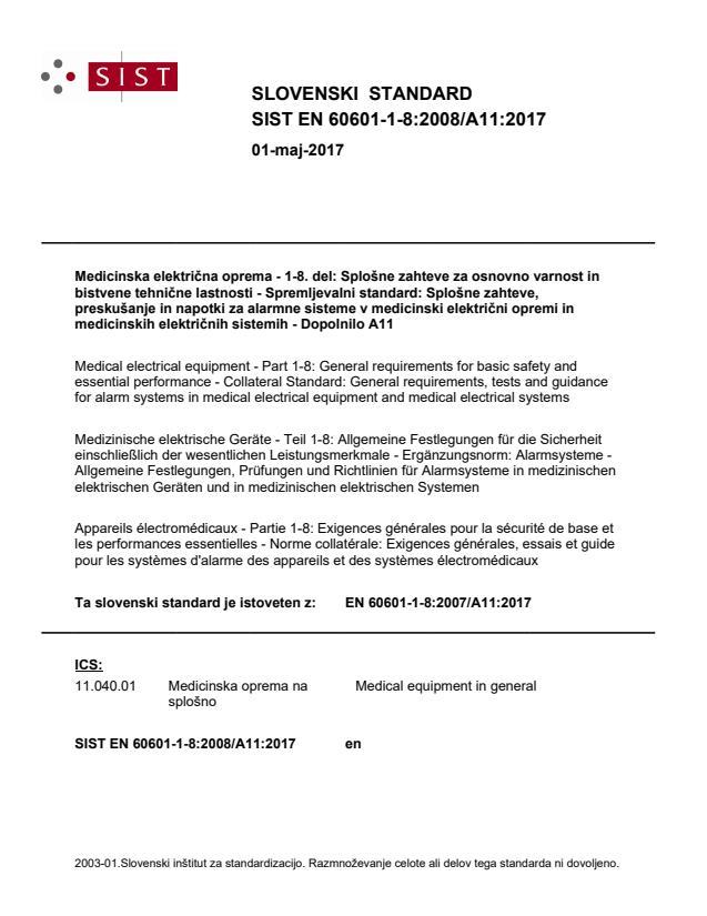 EN 60601-1-8:2008/A11:2017 - natisnjeno za čitalnico