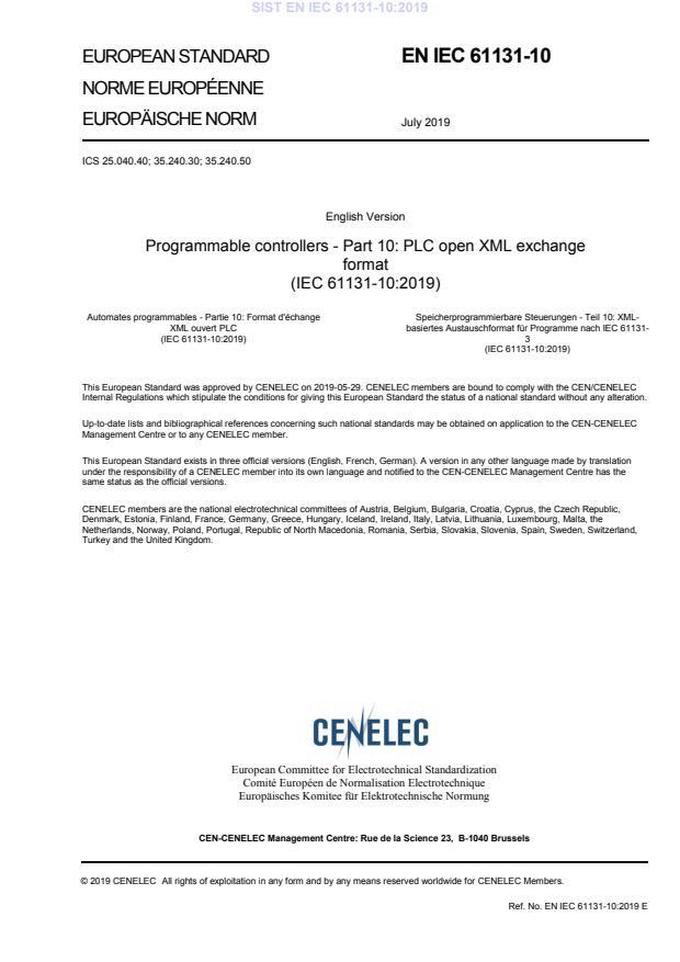 EN IEC 61131-10:2019 - POZOR: Del standarda IEC je datoteka zip: iec61131-10{ed1.0}. BARVE. Vodni prestisk do PDF-str 95, potem brez, ker se povsod prestavi na sredino strani.
