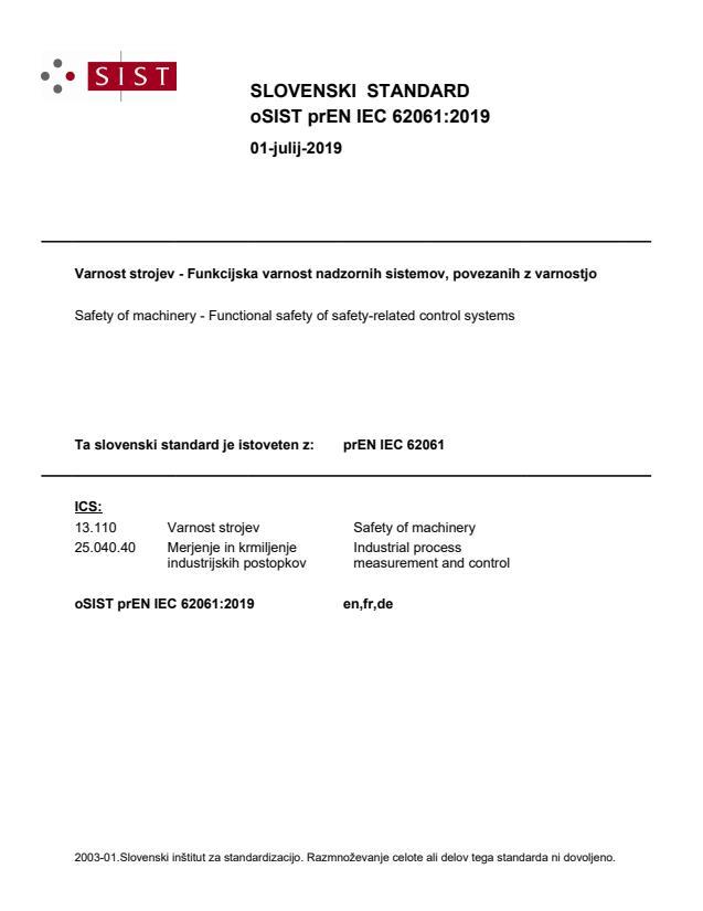 oSIST prEN IEC 62061:2019 - BARVE