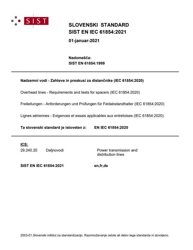 SIST EN IEC 61854:2021