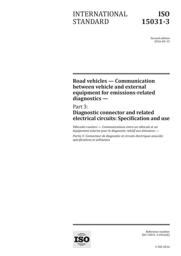 ISO 15031-3:2016 - Road vehicles -- Communication between vehicle and external equipment for emissions-related diagnostics