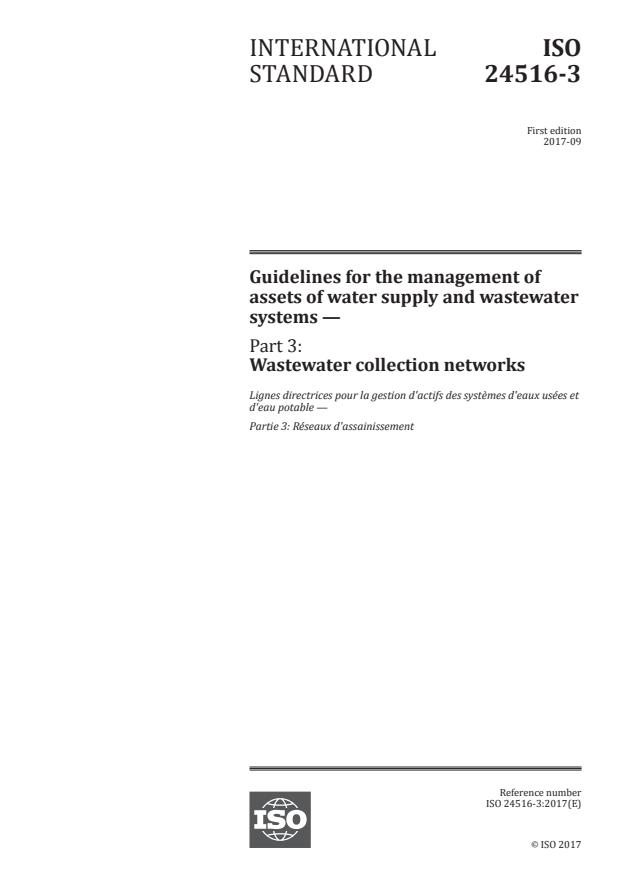 ISO 24516-3:2017 - Guidelines for the management of assets of water supply and wastewater systems