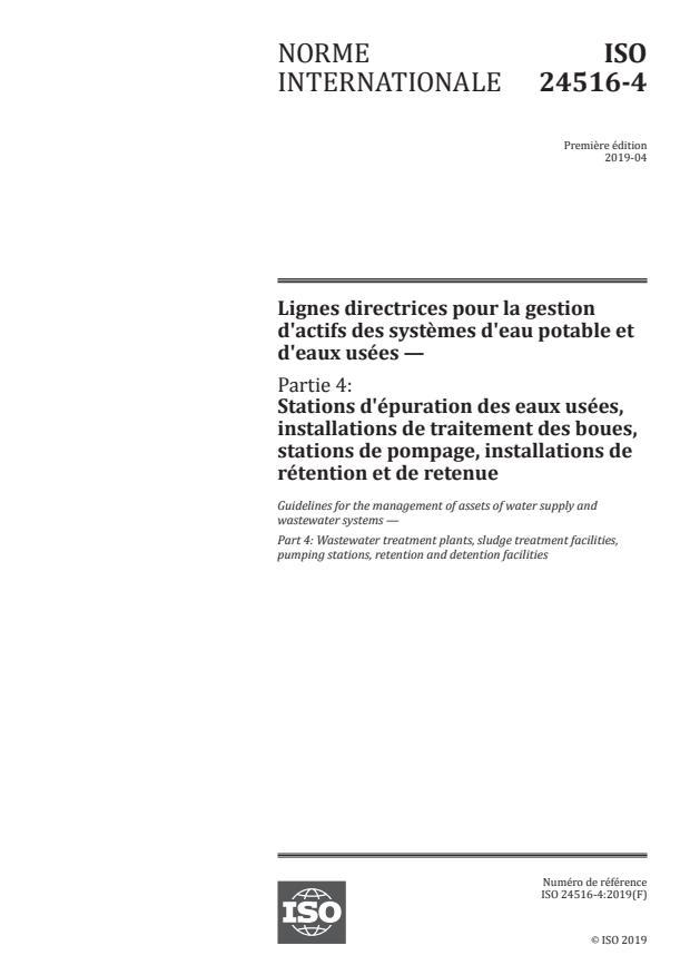 ISO 24516-4:2019 - Lignes directrices pour la gestion d'actifs des systemes d'eau potable et d'eaux usées